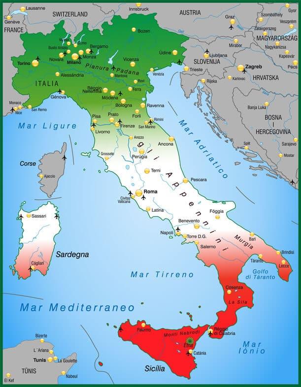 landkarte italien Karte Italien – Italien Sehenswertes – Urlaub mal anders landkarte italien
