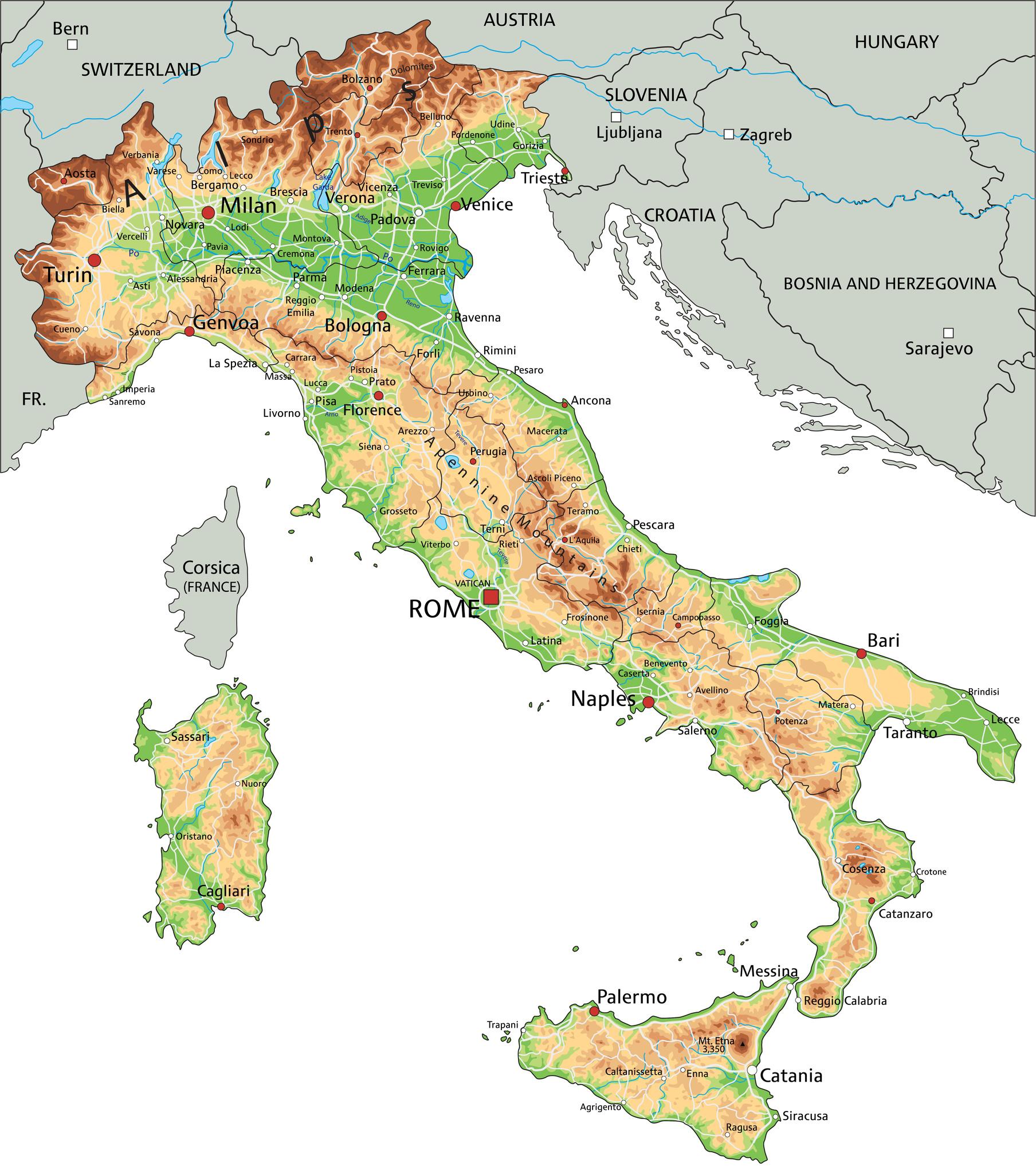 Norditalien Karte.Italien Landkarte Italien Sehenswertes Urlaub Mal Anders